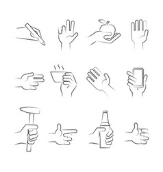 hand drawn hand icons with tools and other objects vector image