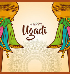 happy ugadi card mandalas celebration culture vector image