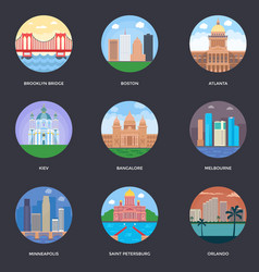 pack of world cities 6 vector image