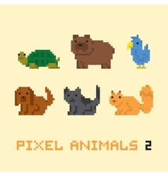 Pixel art style animals cartoon set 2 vector image vector image