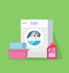 washing machine with water and foam a basin with vector image