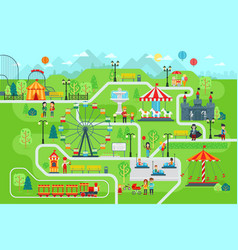 amusement park map infographic elements in flat vector image