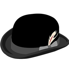 Black bowler hat with feather vector image