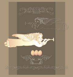 card with easter egg angel and vintage vector image vector image