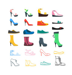 color woman shoes set vector image vector image