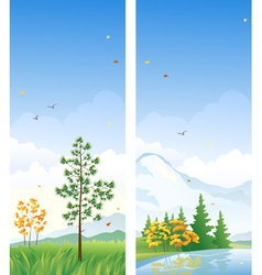 Fall vertical banners vector image vector image