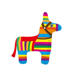 pinata icon flat style donkey colorful isolated vector image vector image