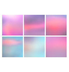 set of square blurred nature blue pink backgrounds vector image vector image