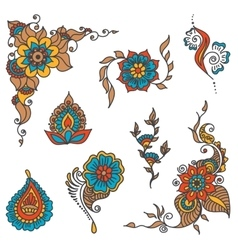 tattoo henna element set vector image vector image
