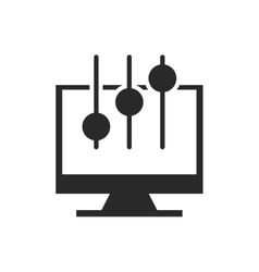 monitor computer with button audio menu vector image