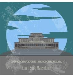 North Korea landmarks Retro styled image vector image