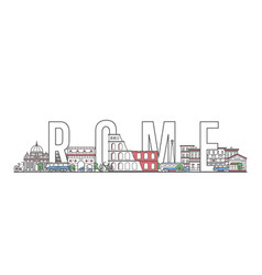 Rome travel lettering in linear style vector