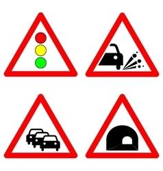 Set of traffic signs Traffic lights gravel road vector image vector image