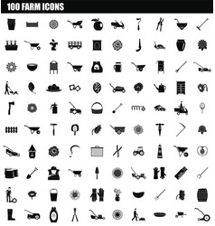100 farm icon set simple style vector image