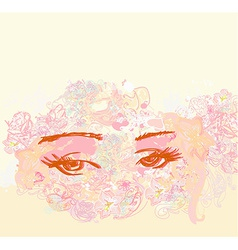 Abstract floral design of beautiful human eyes vector