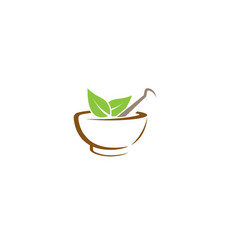 abstract herbal pharmacy mortar logo vector image