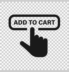 Add to cart shop icon in transparent style finger vector