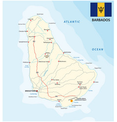 barbados road map with flag vector image