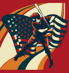 baseball player with american flag vector image