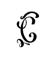 Beautiful hand written capital letter c with curls vector