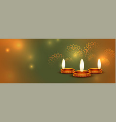 beautiful happy diwali shiny banner with text vector image