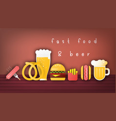beer and fast food banner vector image