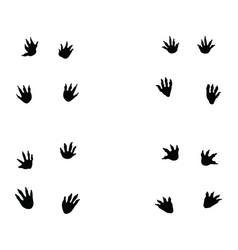 Black footprints crocodile vector
