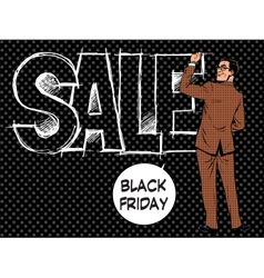Black Friday businessman writes sale vector image