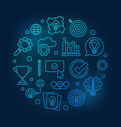 brainstorming blue round outline vector image