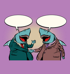 business sharks talk to each other vector image