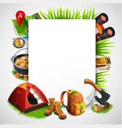 camping realistic frame vector image