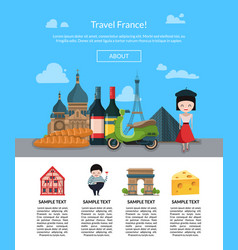 cartoon france sights page vector image