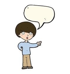 Cartoon pointing boy with speech bubble vector