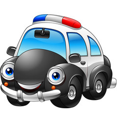 cartoon police car character vector image