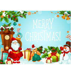 christmas gifts decorations greeting card vector image