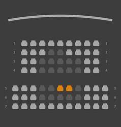 Cinema seats booking online ui dark gray color vector