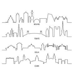 City landmarks beijing tokyo new delhi cuba vector