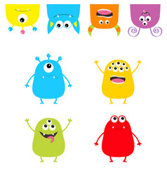 Colorful monster silhouette set hanging upside vector
