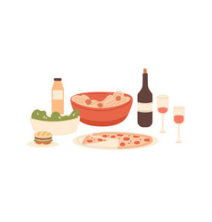 composition served italian traditional dishes vector image