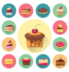 Confectionery set isolated cakes icons vector