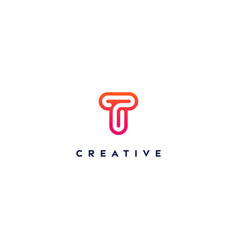 Creative logo letter t with a gradient color vector