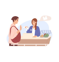 customer with reusable bag refusing from vector image