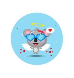 Cute cupid koala wearing glasses love vector