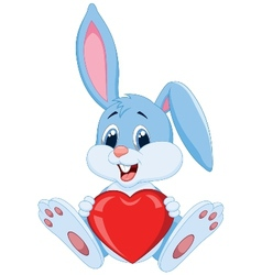 Cute rabbit cartoon holding red heart vector image