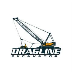 dragline excavator logo vector image