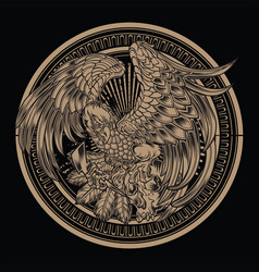 eagle bird wing annimal usa america skull vector image
