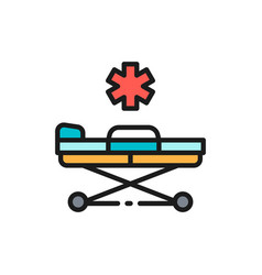 Emergency stretcher trolley flat color line icon vector