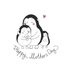 Family cute hedgehogs Mom and kids Cartoon vector