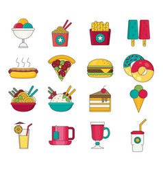 Fast food icons flat vector