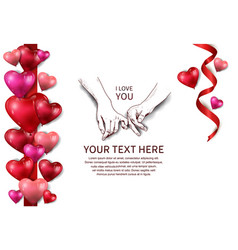 Finger holding hand hand drawn red ribbon and red vector